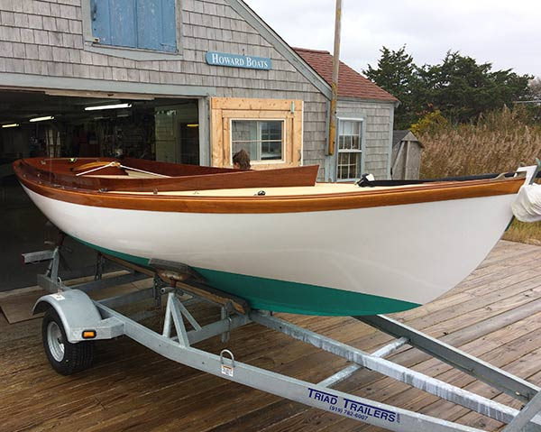 custom wooden boat from Howard Boats ready to launch